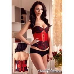Shiny corsetto rosso con pizzo nero