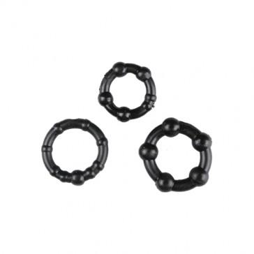 3 anelli neri per pene Performance Trinity Vibes