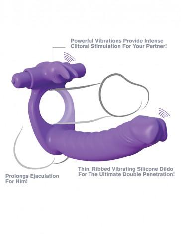 Anello per pene con dildo per doppia penetrazione vibranti