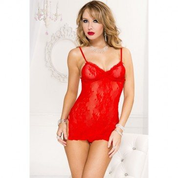 Babydoll sexy in pizzo rosso