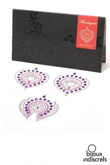 Copricapezzoli + copripube con perle e strass-Rosa-Malva