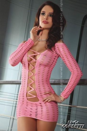 Lingerie abito corto traforato rosa-L/XL