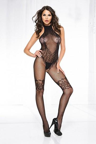 Catsuit in maglia e motivi geometrici-Nero