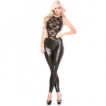 Catsuit nera in pizzo e pantaloni wetlook
