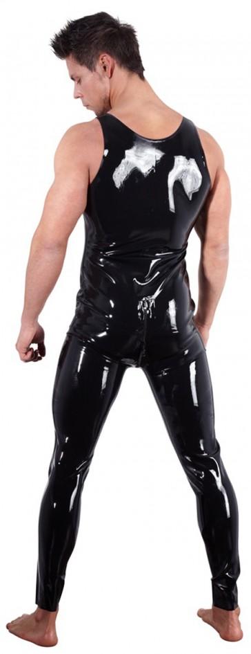 Catsuit uomo in vinile nero con cerniera