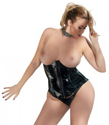 Corsetto in vinile nero plus size-XXL