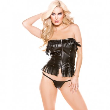 Corsetto nero con frange in finta pelle Allure - Naughty
