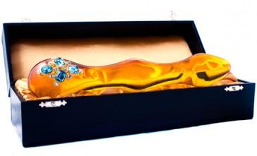 Dildo in vetro ambrato con pietre Swarovski Shiri Zinn