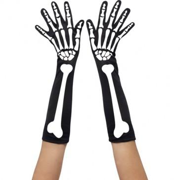 Guanti lunghi neri con motivo scheletro