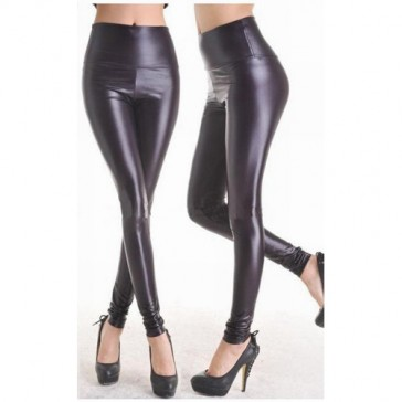 Leggings neri in finta pelle stile Grease