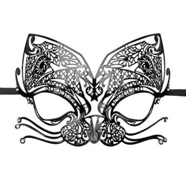 Maschera veneziana in metallo nero