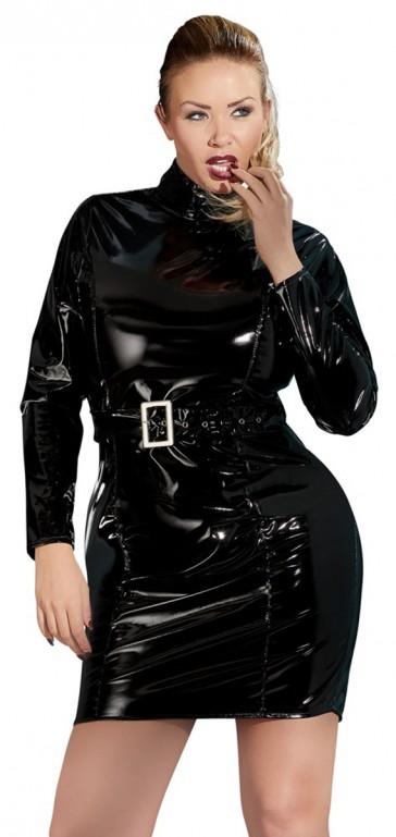 Mini abito in vinile nero con cintura plus size