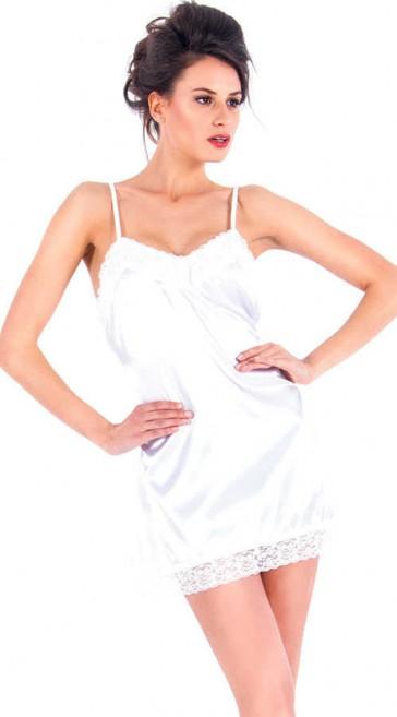 Mini abito intimo in raso con pizzo-Bianco-S/M