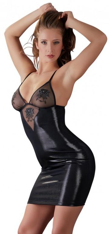 Mini abito nero effetto bagnato e strass