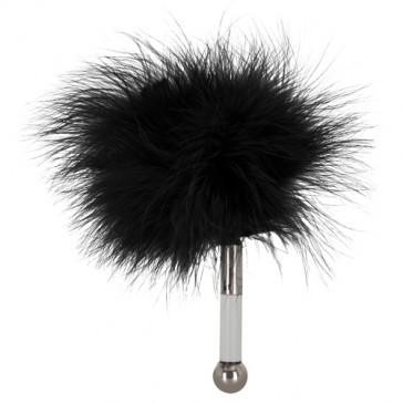 Mini tickler con piume nere e manico in acrilico argentato