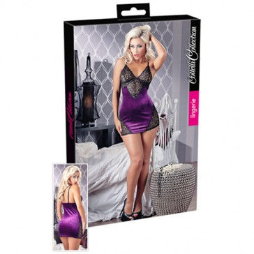 Mini vestito intimo viola con pizzo nero
