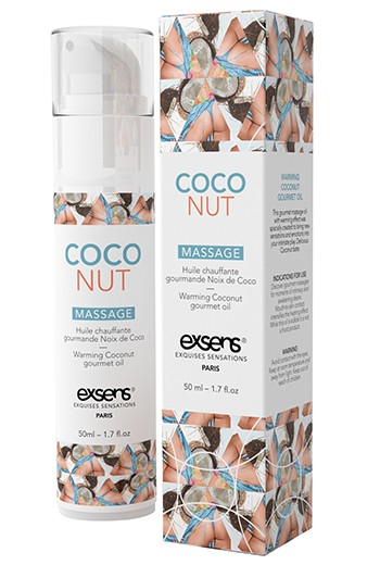 Olio da massaggio gourmet riscaldante Exsens-Cocco