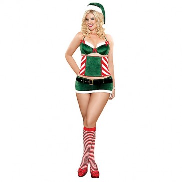 Costume sexy aiutante di Babbo Natale ampie dimensioni