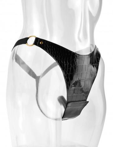 Perizoma plus size in finto coccodrillo nero con vibratore