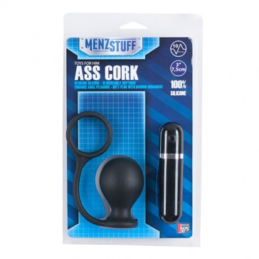 Plug anale nero con anello per pene Ass Cork Wide