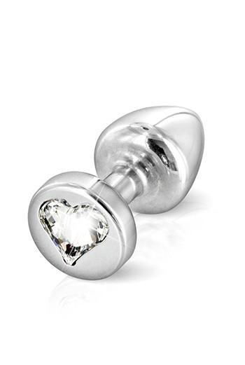 Plug anale silver in alluminio con swarovski forma cuore