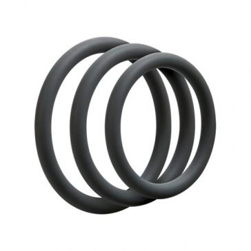 Set 3 anelli sottili in silicone per pene o testicoli color ardesia