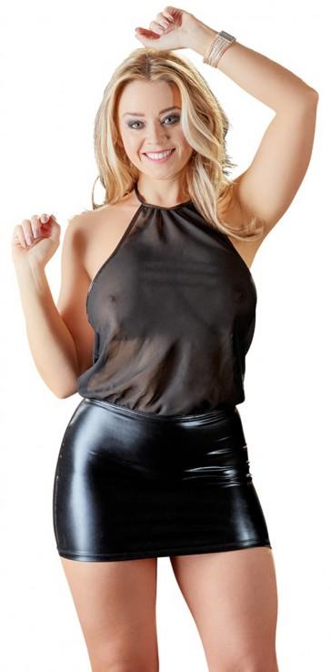 Sexy abitino nero in chiffon e wetlook