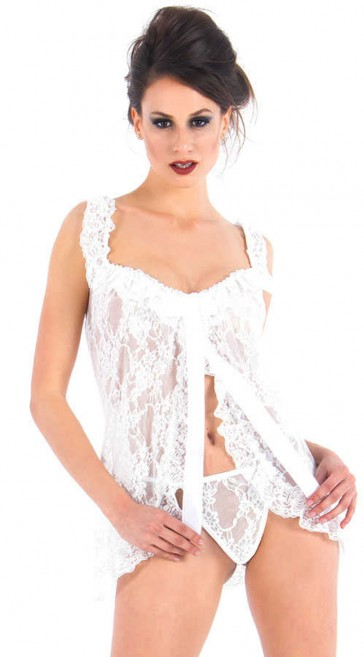 Babydoll in pizzo-Bianco