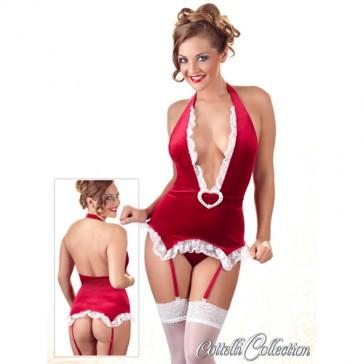 Sexy Body natalizio con giarrettiere regolabili
