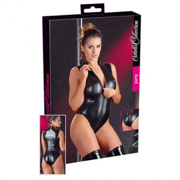 Sexy body nero wetlook con cerniera