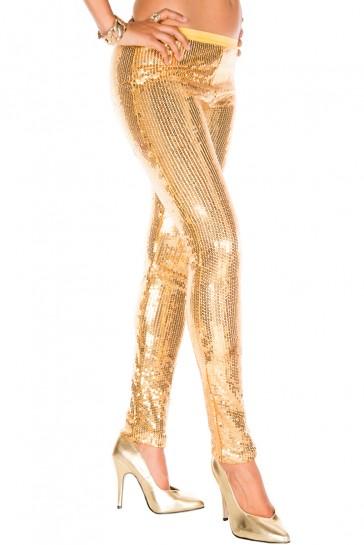 Sexy legging con paillettes-Oro