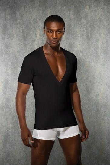 T-Shirt uomo scollo a V nera