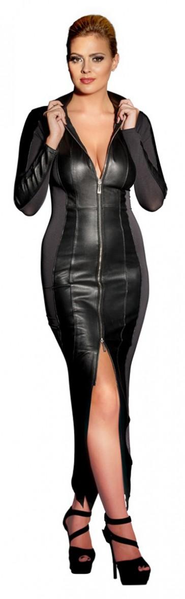 Vestito lungo in pelle con inserti elasticizzati