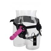 Strap-on con dildo rosa Thruster Love Rider con telecomando
