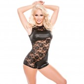 Body nero in pizzo e inserti in finta pelle Allure