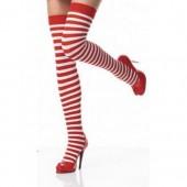 Calze a righe rosse e bianche accessorio costume Natale
