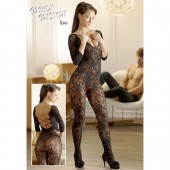 Catsuit in pizzo floreale nero Mandy Mystery Line