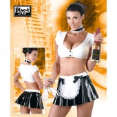Costume da cameriera sexy in vinile Black Level