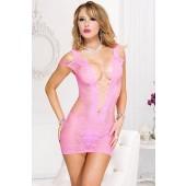 Mini abito intimo rosa con scollatura a V