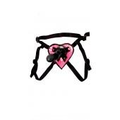 Strap-on dildo nero e imbracatura a forma di cuore rosa