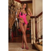 Wild Kitten badydoll rosa con inserti neri Exposed