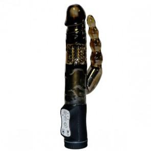 Vibratore con stimolatore anale Anal Rotator Pearl Black 25cm