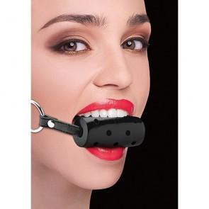 Ball gag cilindrica nera con cinghie in pelle