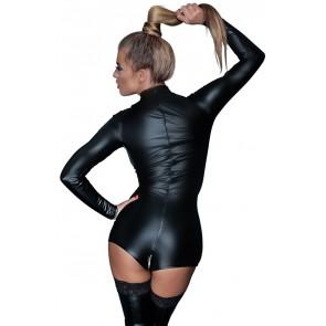 Body nero maniche lunghe con cerniera sul cavallo