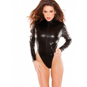Body nero maniche lunghe nero effetto bagnato