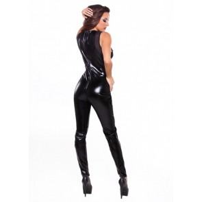 Catsuit nera in wetlook e reticella tg unica