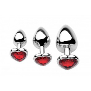 Chrome Hearts set 3 plug anali con strass a forma di cuore rosso