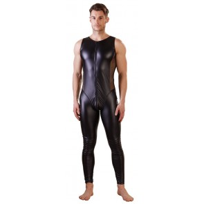 Jumpsuit uomo senza maniche nero wetlook