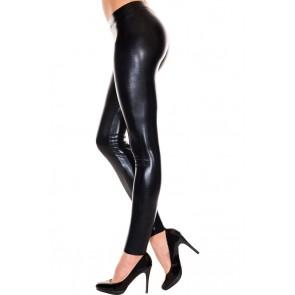 Leggings effetto bagnato nero