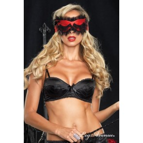 Sexy maschera in raso rossa e pizzo nero